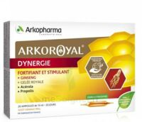 Arkoroyal Dynergie Ginseng Gelée royale Propolis Solution buvable 20 Ampoules/10ml à BAUME-LES-DAMES