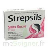 STREPSILS FRAISE SANS SUCRE, pastille édulcorée à l'isomalt, au maltitol et à la saccharine sodique à BAUME-LES-DAMES