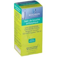 CHLORHEXIDINE/CHLOROBUTANOL BIOGARAN CONSEIL 0,5 ml/0,5 g pour 100 ml, solution pour bain de bouche Fl/200ml à BAUME-LES-DAMES
