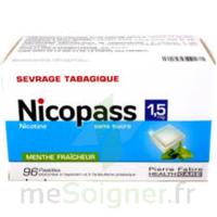 Nicopass 1,5 mg Pastille sans sucre menthe fraîcheur Plq/96 à BAUME-LES-DAMES