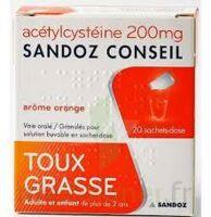 ACETYLCYSTEINE SANDOZ CONSEIL 200 mg Glé solution buvable en sachet-dose 20Sach/1g à BAUME-LES-DAMES