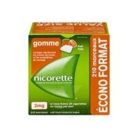 Nicorette 2 mg Gomme à mâcher médicamenteuse sans sucre fruits Plq/210 à BAUME-LES-DAMES